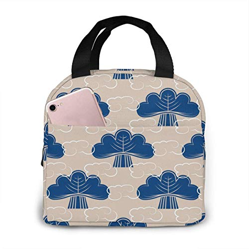 Japanese Maneki Neco Kitten Waving Hand Paw Lucky Portable Insulated Lunch Bag, Waterproof Tote Bento Bag for Office Schoo
