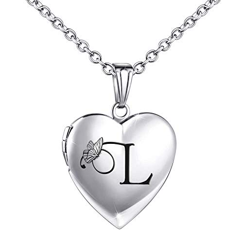 Locket Necklace that Holds Pictures Initial Alphabet Letter Heart Shaped Photo Memory Locket Pendant Necklace (L)