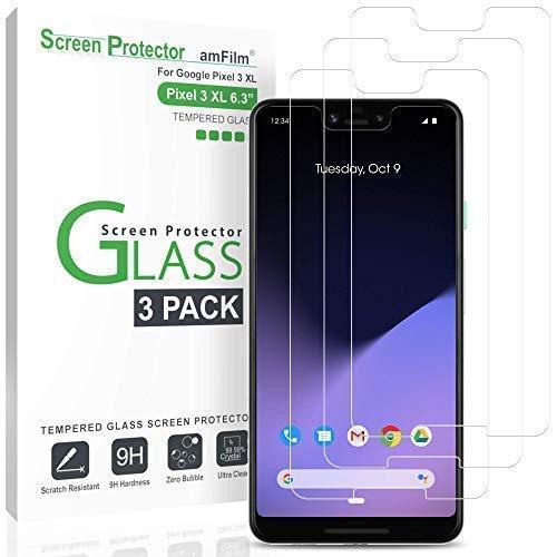 amFilm Panzerglas Schutzfolie für Pixel 3 XL (3 Stück), Schutz Hüllenfreundliche Glas Displayschutzfolie für Google Pixel 3 XL