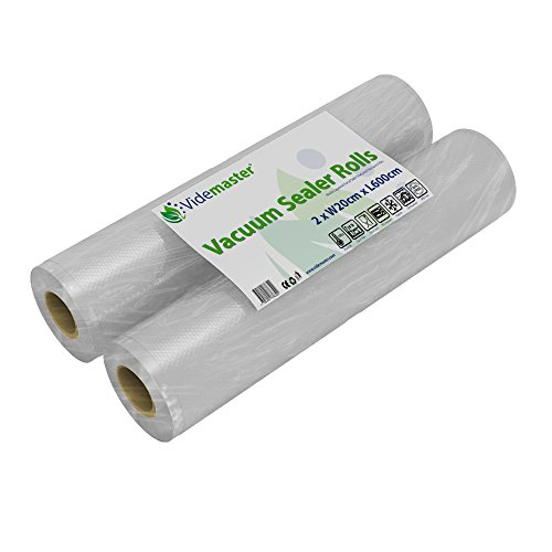 Videmaster Vacuum Food Sealer Rolls 2 Pack 20cm x 6m Each 12m in Total by Rollo de...