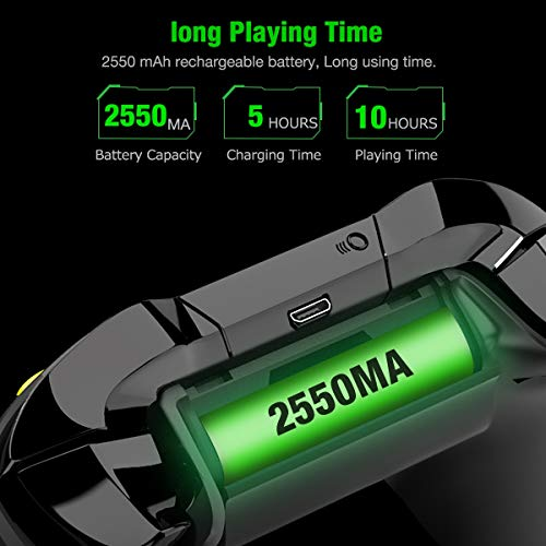 Battery Pack for Xbox One Controller , BEBONCOOL 3-Pack 2550mAh for Xbox One Controller Rechargeable Battery Packs and Charger Accessory Kit, Battery for Xbox One/One X/One Elite/One S Controllers