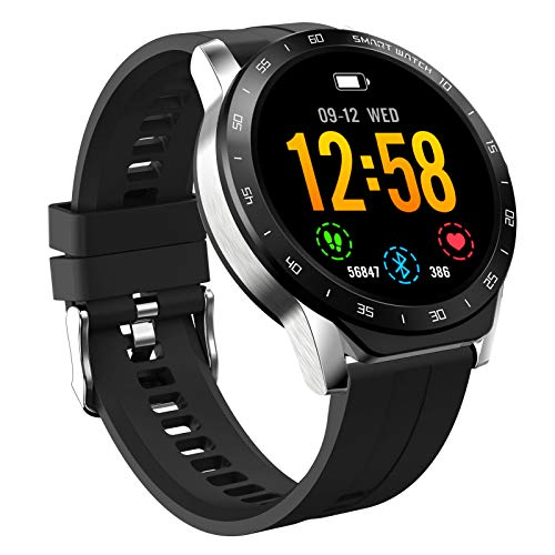 HAOQIN Smart Watch Fitness Tracker HaoWatch VS1 1.3'Pantalla táctil Completa IP67 Impermeable con Monitor de frecuencia cardíaca Teléfonos compatibles con iPhone y Android Plata