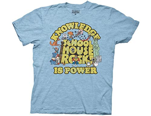 Ripple Junction Schoolhouse Rock Knowledge is Power Logo Group Adult T-Shirt Large Heather Light Blue