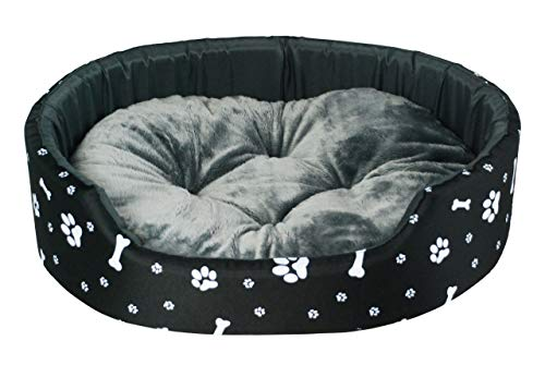 BedDog Hundebett Hundekissen Hundesofa Schlafplatz Katzenbett ((M) 57x48x15cm / Liegefläche 51x42cm, Schwarz-weiß)