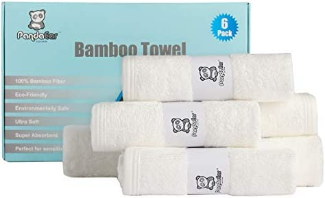 PandaEar 6 Pack Super Soft Absorbent Bamboo Fiber Washcloths Towels Baby Newborn Bath Face Wipes product image