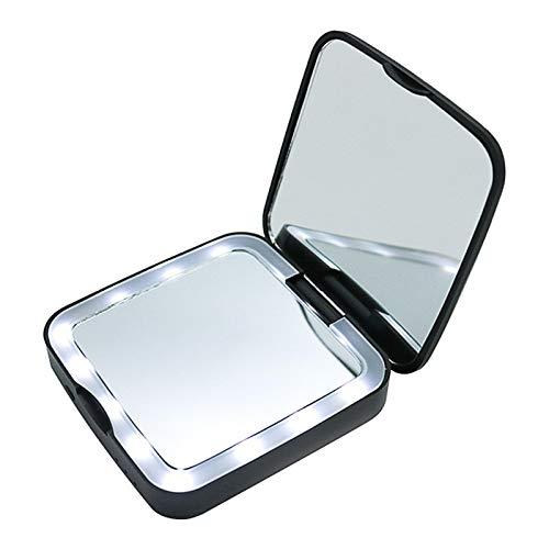 Espejo de maquillaje con espejo de aumento de luz Espejo de maquillaje con luz LED Espejo de maquillaje con luz plegable Espejo de maquillaje portátil con energía móvil