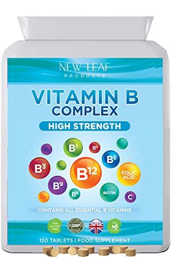 Vitamin B Complex High Strength and Absorbency All 8 Essential B Vitamins per Tablet ( B1, B2, B3, B5, B6, B7, B9 & B12 ) Plus VIT C Vegan, Gluten-Free, GMP, Made in The UK by New Leaf, 120 Tablets