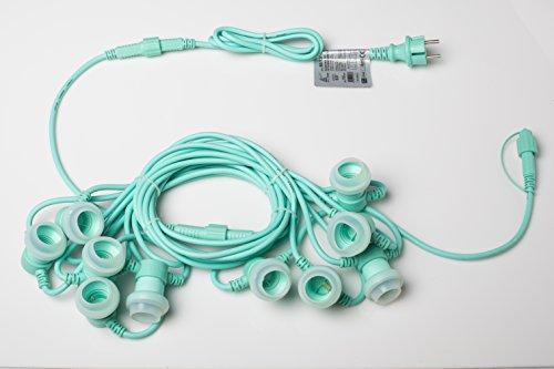New-Lamps Nuovo Cordoniera 10 portalampade E27 L.10m prolungabile per Uso Esterno IP65 e Interno Colorate (Acquamarina)