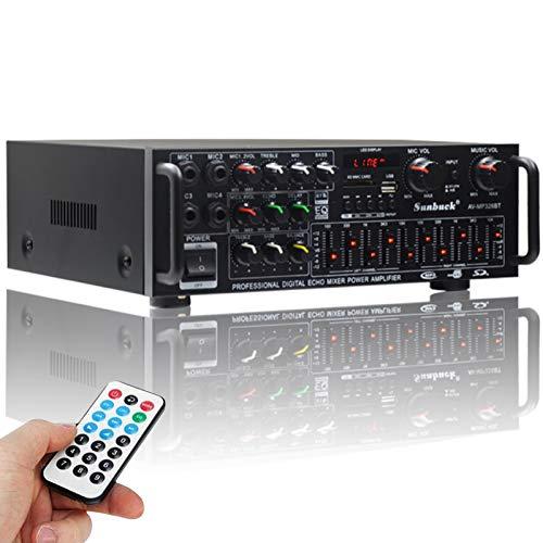 高音質HiFiパワーホームアンプ Bluetoothオーディオサウンドアンプ デジタルアンプ オーディオアンプ カラオケアンプ 110V EQ USB SD 最大出力300W+300W 4マイクカーアンプ ハイパワー 車載 家庭用 カーアンプ パーティー用 忘年会 新年会 結婚式 リモン付き