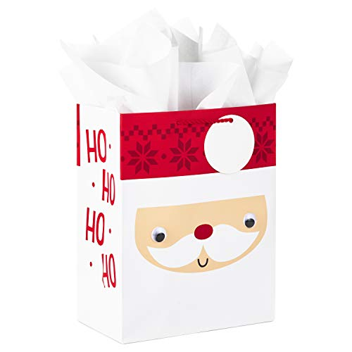 Hallmark 11' Large Christmas Gift Bag with Tissue Paper (Santa Claus Face with Googly Eyes) for Kids, Grandchildren, Nieces, Nephews, Sons, Daughters