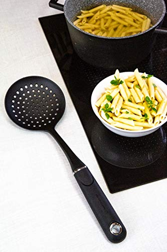 MasterClass Kitchen Skimmer Spoon with Soft Grip Handle, Non Stick Safe Nylon, 36 cm