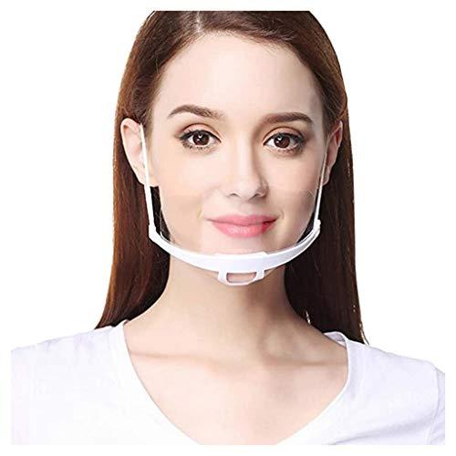 30Pcs Unisex Reutilizables Visera Facial Trabajo Servicio de Cocina de Chef de Plástico Transparente Protectores Cubierta Bucal Proteccion para Cubreboca Protección Bucal(Blanco,30Pcs)