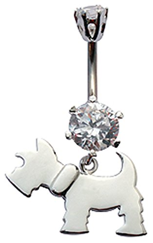 Silver dangly dog design belly button ring with CZ Clear crystal - packed in a lovely velvet pouch