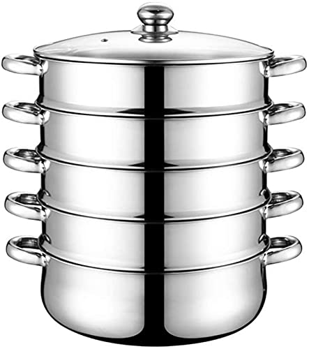 WQF 5-Layer Steamer pan, Stainless Steel Steamer Induction Cooker Cookware Cooker, Size 28cm/30cm/32cm/34cm/36cm/38cm/40cm stewing Pots