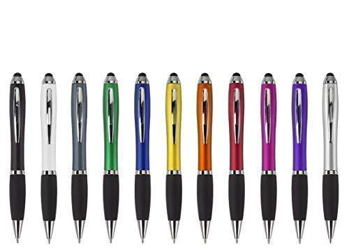 Schmalz Werbeservice Kugelschreiber Bristol inkl. Druck Touch mit Werbung/Logo/Druck/Werbedruck Kugelschreiber Bedruckt Digitaldruck Mehrfarbig (Menge: 50 Stück, grau)