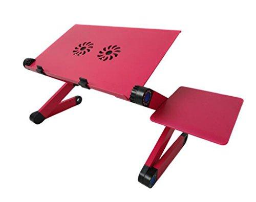 WENMW Folding Laptop Schreibtisch Schreibtisch Fach Halter mit Maus Board höhenverstellbar mit Zwei hydraulische Lager Fan tragbaren Laptop Schreibtisch (2 Farben) (Farbe : Rot)