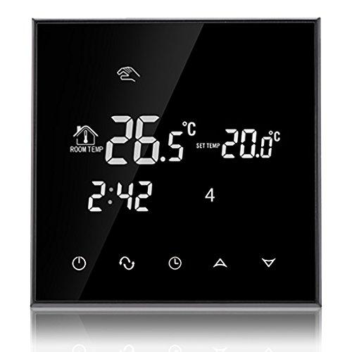 Beok TGT70-EP Programmierbare Elektrische Fußbodenheizung Thermostat Smart Digital Raum Temperatur Controller mit Glas Touch Bildschirm, 230V 16A, Jet Schwarz