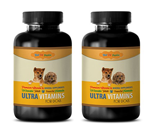 BEST PET SUPPLIES LLC Dog Vitamins and Supplements - Premium Ultra Vitamins - for Dogs ONLY - Mineral Support - Powerful Formula - Chewy Treats - Dog Calcium Tablets - 240 Chews (2 Bottle)