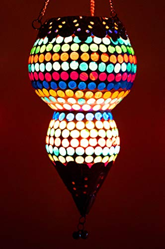 Orientalisches Mosaik Windlicht Hängewindlicht Glas Ajmia Bunt 20 cm groß | Orientalische Glas Teelichthalter mit Henkel orientalisch | Marokkanische Windlichter hängend als Hängewindlichter