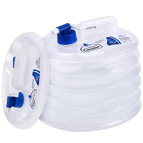 Collapsible Water Container, Premium Portable Water Storage Jug Food Grade Water Carrier with Spigot, Perfect for Outdoors Camping Hiking Emergency - BPA Free[2.6 Gallons]