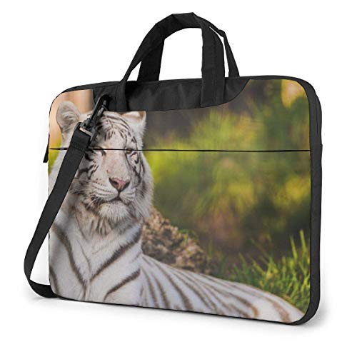 Laptoptas computerhoes hoes hoes cover wit tijger kantoor travel tablet schouder handtas 15,6 inch