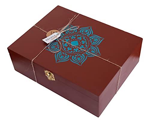Caja para Té de Madera Handmade con diseño de Mandala