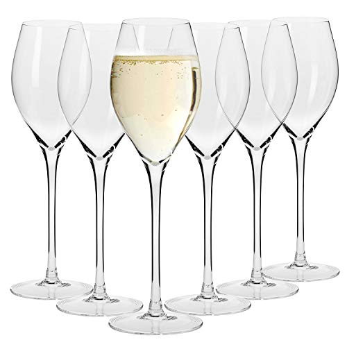 Krosno Bicchieri Prosecco Champagne Calice Flute Spumante Vetro | Set di 6 | 280 ML | Collezione Harmony | Ideale per Casa Ristorante e Ricevimenti | Adatto alla Lavastoviglie e al Forno a Microonde