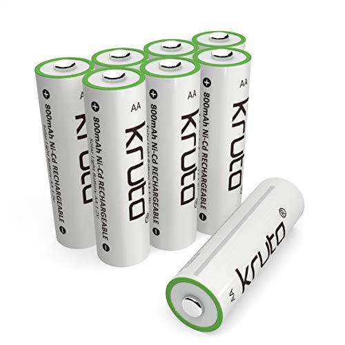 Solar Light Batteries AA Ni-CD 800mah 1.2V Rechargeable AA Battery for Solar Lamp Solar Light Pre-Recharged (Pack 8)