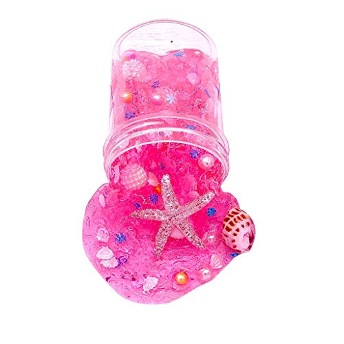 Best Review Of Meidexian888 Slime DIY Toy, Ocean Pearl Shell Puff Putty Scented Stress Relief Toy Gift 120ml (Pink)