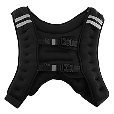 TOPINCN Exercise Weighted Vest, Sport Weighted Training Jacket with Adjustable Bucklefor Men Women Workout Fitness Resistance Training Jogging Cardio 10Kg /22Lbs Black