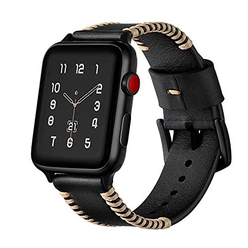 Bandas de reloj para Apple Watch Series 1/2/3/4/5/6/SE, compatible con iWatch Band 38 mm 40 cm/42 mm 44 mm, correa de reloj de piel auténtica transpirable, color negro, 38 mm/40 mm