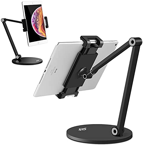 KABCON Tablet Stand,Tightness Adjustable 360°Rotatable Multi-Angle Eye-Level Aluminum Solid Long Arm Tablets Stands for iPad Series,Microsoft Surface Tablet Series,Samsung Galaxy Tabs,Kindle Fire,etc