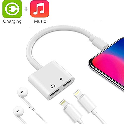LYZZO Adapter and Splitter for iPhone 7/7 Plus/8/8 Plus/X/Xs, 2 in 1 Headphone Jack Aux Audio & Charger Adapter Cable at The Same time Data Sync Call Function (White), 137.60.25CM