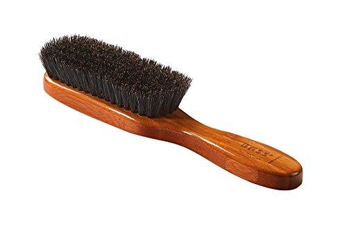 Bass Brushes | Shine & Condition Hair Brush| 100% Premium Natural Bristle SOFT | Pure Bamboo Handle | Semi Oval | Dark Finish | Model 876SB - DB