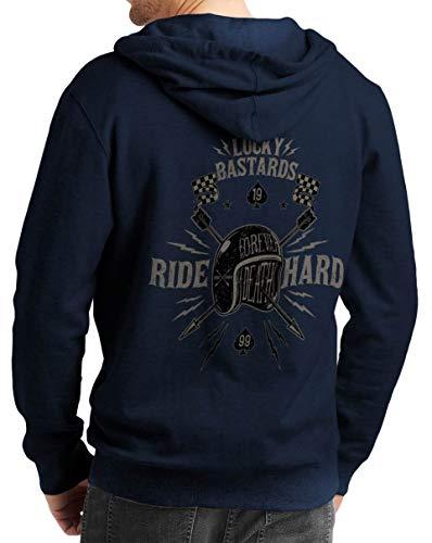 Rebel on Wheels Herren Zip Hoodie Sweat-Jacke mit Kapuze Kapuzen-Jacke Winter mit Motiv Bedruckt Totenkopf Skull Biker Motorrad Lucky Bastards Blau 2XL