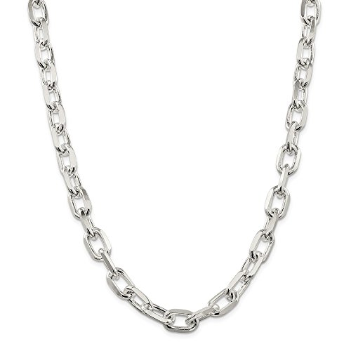 Sterling Silver 11.5 mm Diamond-cut Open Link Cable Chain Necklace for Men Women