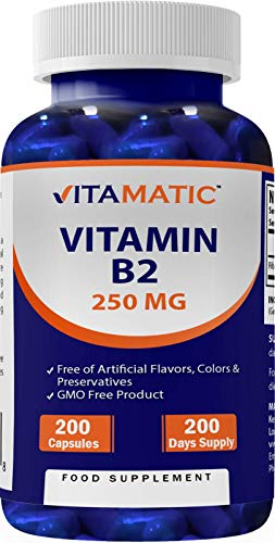 Vitamatic Vitamin B2 Riboflavin 250 mg 200 Capsules - Non GMO - Gluten Free - 200 Days Supply