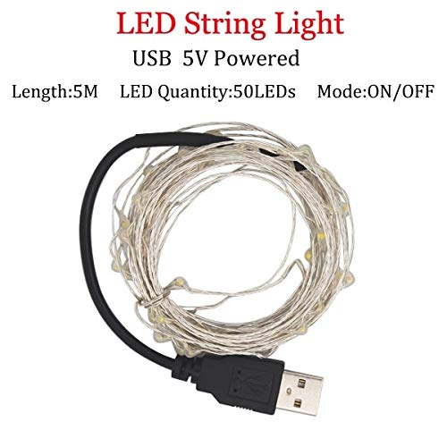 2/5 / 10M 10-100 LED Christmas Garland Wire LED String Lamp Luces de Hadas para Interior Año Nuevo Navidad Decoración de Bodas - 5m   USB   Powered, Blanco