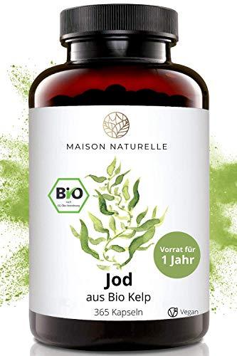 MAISON NATURELLE® Bio Kelp (Natürliches Jod) - 365 Kapseln - 200μg JOD je Kapsel -TESTSIEGER 2020 - Kelp Braunalgen Kelp Vegan Jod Kelp Organic Kelp Kelpalge Jod Algen Kapseln