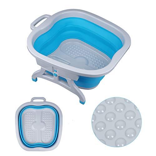 Sinbide Masajeador SPA para Pies Baño para su Relajación y Rejuvenecimiento Bañera de Pies Goma Cucharón con Burbujas Azul Rosa Plegable (Azul)