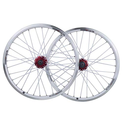 Juego de Ruedas de Bicicleta Plegable 20 Pulgadas BMX Rueda de Bicicleta Disco de llanta de Aluminio de Doble Capa/Freno en V QR 7-10 Velocidad 32H
