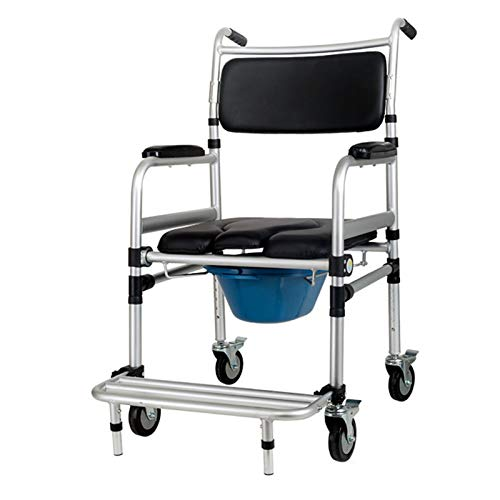Commode Chairs with Wheels, Foldable WC Chair,Wheeled Shower Commode Chair for The Disabled, Handicapped, Seniors