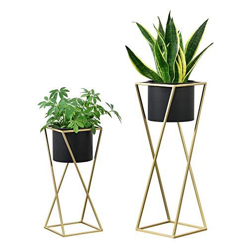 [en.casa] Pflanzständer im 2er Set Blumenständer aus Metall Blumentopf Ständer mit Übertopf Blumentopfhalter 2-TLG. Pflanztopf Deko Goldfarben-Schwarz Viereckig