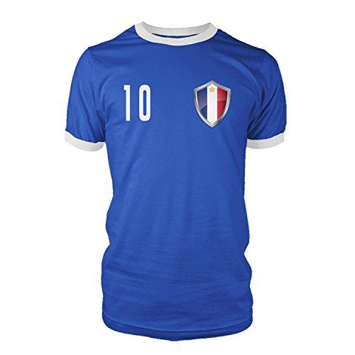 net-shirts Frankreich - France Trikot Style 2 T-Shirt Fussball Nationalmannschaft WM EM, Größe XL - Rückennummer 5, blau
