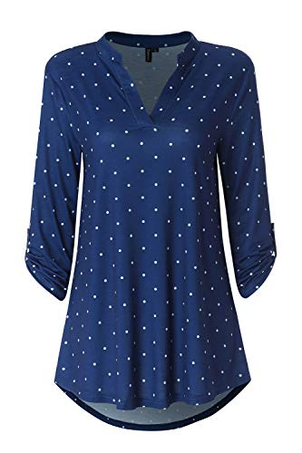 Zattcas Womens 3/4 Roll Sleeve Notch Neck Floral Blouse Shirts Tunic Tops Navy Blue X-Large