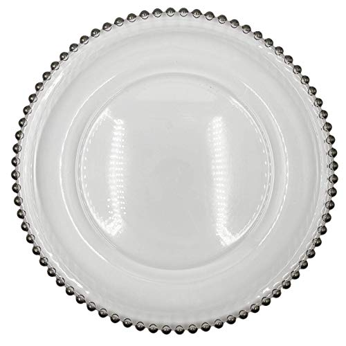 Urquid Linen, Beaded Rim Clear Glass 13' Charger Plate, Set Of 4, Use for Elegant Wedding Décor, Luxe Dinner Parties and Special Events, and Any Elegant Occassion (Silver)