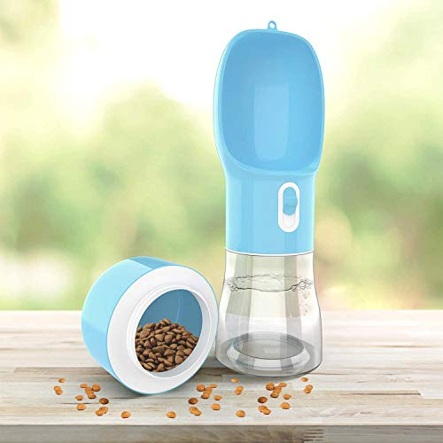 madeking Dog Water Bottle Portable Pet Water Bottle Leak Proof Dog Water Dispenser and Food, Multifunctional Outdoor Water&Food Bowl for Dogs and Cats (Bule)