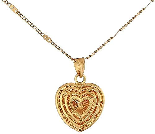 niuziyanfa Co.,ltd Necklace Gold Color Cute Layered Heart Pendant Necklace Women Trendy Heart Jewelry