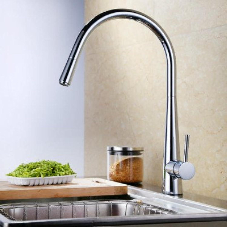 Retro Deluxe Wasserhahn, modern, Chrom oder gebürstetes Massivmessing, zum Herausziehen von heien und kalten Küchenarmatur, Wasserhahn, silber