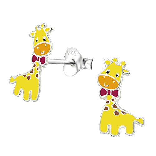 Monkimau Mädchen Ohrringe Giraffe Ohrstecker aus 925 Sterling Silver echt Silber mit Schleife